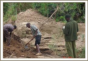 Road works undertaken by the Chyulu team