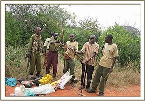 The two arrested elephant poachers and their ware