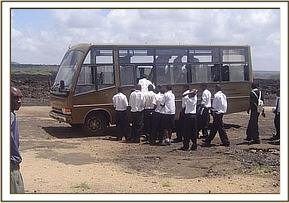 Chala students boarding the DSWT bus