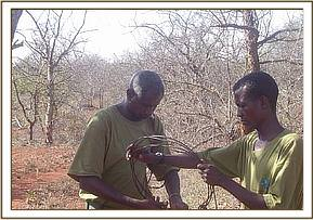 Team members lifting a large snare