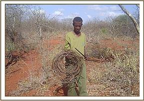 A team member with large snares