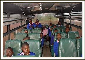 Kithasyo pupils in the bus on their field trip