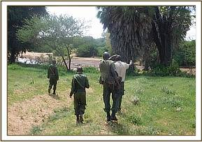 Team on patrol at along galana river