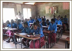 The students studying at their new desks