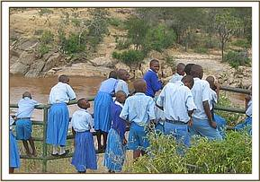 Kivuti pupils watch croccodiles