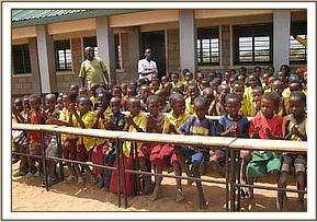 Kone primary students sit at their new desks