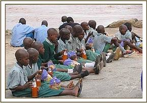 Pupils have their lunch while watching the hippos