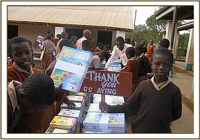 The books donated to Maktau Primary School