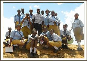 Students at mudada rock in Tsavo East