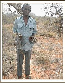 The arrested poacher with some of his snares
