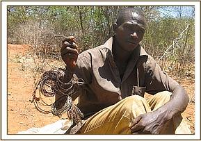 poacher arrested at kenani with rolls of snares