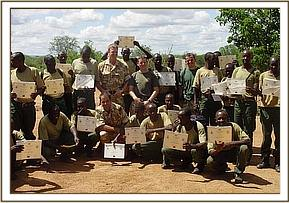 Desnaring team members with their certificates