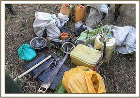 Confiscated items of a poacher