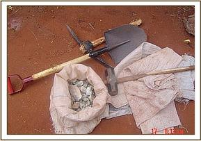 Mining tools and bag of mined stones