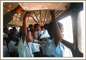 The students in the bus on their field trip