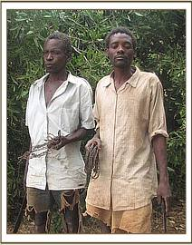 Two arrested poachers and their snares