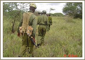 The desnaring team and KWS on patrol