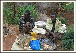 Two arrested poachers and their wares