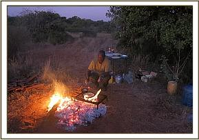 Breakfast prepared in the bush after night ambush