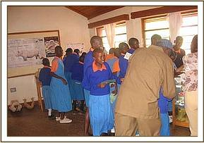 Muthingi primary students at the visitors center