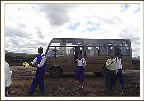Alan Mjomba students at Shetani lava