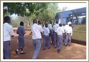 Mbela school leaving Mzima Springs