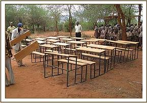 Desks off-loaded at kavete primary