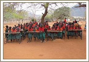 Kakithya pupils sit at their new desks