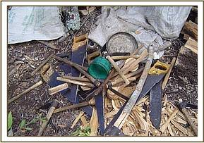 Tools used to chop up wood before it is burned