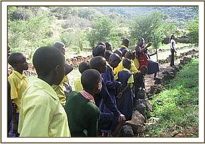 Kikwasuni pupils at Ngulia banda