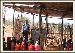 Makeshift classrooms at Kakithya primary school