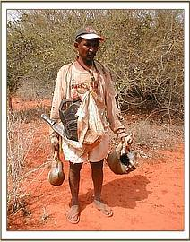 Arrested poacher with dead Dikdik and his tools