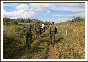 Team members and KWS officers on patrol
