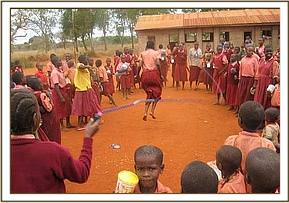 Nzanyo primary playing with the new skipping rope