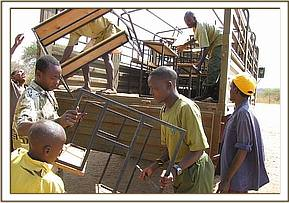 Off-loading the desks at Tsavo primary school
