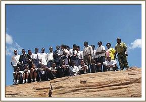 A group photo at the famous mudada rock