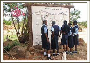 Mwatate high students at the tsavo east gate