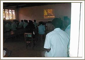 Mwabiti students watching a conservation video