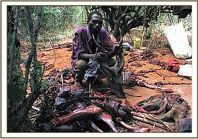A poacher arrested in posession of bushmeat