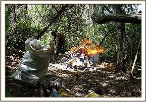 Burning the poachers belongings