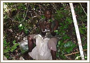An arrested Miraa harvester with his bag of Miraa