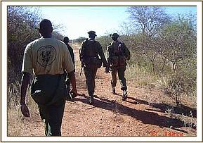 the Ziwani desnaring team on patrol