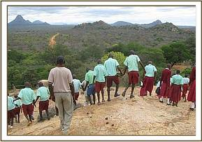Ngwate pupils climb ithumba hill