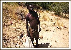 Arrested poacher carrying snares