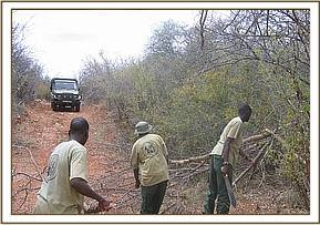 The team clearing the road of Tiva- Tundani