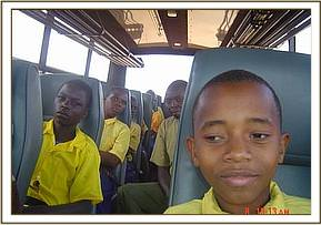 Jipe primary on the bus during their field trip