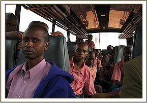 Pupils on the bus during the field trip
