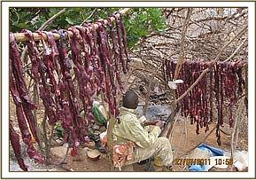 Bushmeat being dried at poacher camp