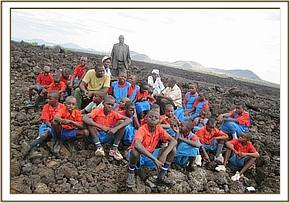 Isaani pupils at Shetani lava