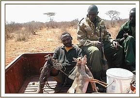Arrested poacher from Ndii with dead Dikdiks